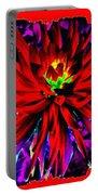 Dahlia Rouge Texture Avec La Frontiere  Portable Battery Charger
