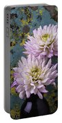 Dahlias Against Rusty Wall Portable Battery Charger