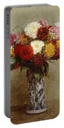 Dahlias In A Chinese Vase Portable Battery Charger