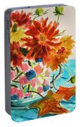 Dahlias In A Painted Cup Portable Battery Charger