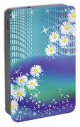 Daisies And Butterflies On Blue Background Portable Battery Charger
