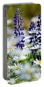 Daisies And Lupine Portable Battery Charger