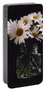Daisies On Black Portable Battery Charger