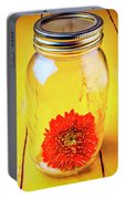 Daisy In Glass Jar Portable Battery Charger