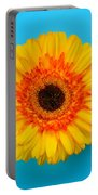Daisy - Yellow - Orange On Light Blue Portable Battery Charger