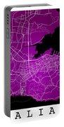Dalian Street Map - Dalian China Road Map Art On A Purple Backgro Portable Battery Charger