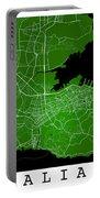 Dalian Street Map - Dalian China Road Map Art On Green Backgro Portable Battery Charger
