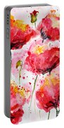 Dancing Poppies Galore Watercolor Portable Battery Charger