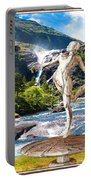 Dancing Statue Near The Waterfall Portable Battery Charger
