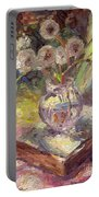 Dandelions Flowers In A Vase Sunny Still Life Painting Portable Battery Charger