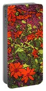 Dandy Digital Daisies In Red Portable Battery Charger