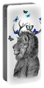 Dandy Lion With Antlers And Blue Butterflies Portable Battery Charger