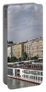 Danube Riverside With Old Buildings Budapest Hungary Portable Battery Charger