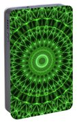 Dark And Light Green Mandala Portable Battery Charger