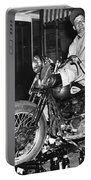 Dave On A Harley Tulare Raiders Mc Hollister Calif. July 4 1947 Portable Battery Charger