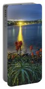 Daybreak And Cloudy Seascape And Aloe Vera Portable Battery Charger