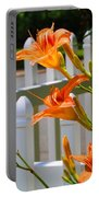 Daylilies On Picket Fence Portable Battery Charger