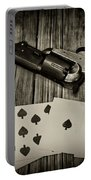 Dead Mans Hand Black And White Portable Battery Charger