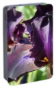Deep Purple Irises Dark Purple Irises Summer Garden Art Prints Portable Battery Charger