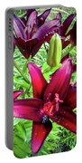 Deep Red Lillies Portable Battery Charger