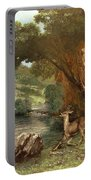 Deer By A River Portable Battery Charger