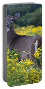 Deer In A Field Of Yellow Flowers Portable Battery Charger