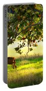 Deer In Autumn Meadow - Digital Painting Portable Battery Charger