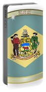 Delaware State Flag Oval Button Portable Battery Charger