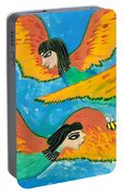 Detail Of Bird People Little Green Bee Eaters Of Upper Egypt 1 Portable Battery Charger