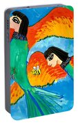 Detail Of Bird People Little Green Bee Eaters Of Upper Egypt 2 Portable Battery Charger