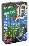 Detroit The Motor City Michigan License Plate Art Collage Portable Battery Charger