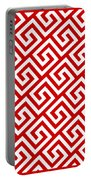 Diagonal Greek Key With Border In Red Portable Battery Charger