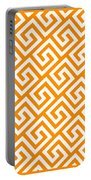 Diagonal Greek Key With Border In Tangerine Portable Battery Charger