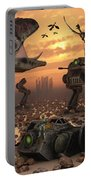 Dinosaurs And Robots Fight A War Portable Battery Charger