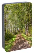 Dirt Path In A Birch Grove  Portable Battery Charger