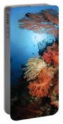 Diver Swims By A Soft Coral Reef Portable Battery Charger
