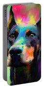 Doberman Pincher Dog Portrait Portable Battery Charger