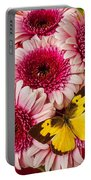 Dog Face Butterfly On Pink Mums Portable Battery Charger