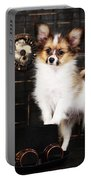 Dog On A Dark Background In The Style Of Steampunk Portable Battery Charger