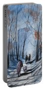 Dog Walking 2, Watercolor Painting Portable Battery Charger