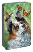 Dog With Butterflies Portable Battery Charger