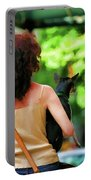 Dog Woman Walk Nyc Paint  Portable Battery Charger