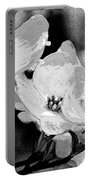 Dogwood Blossoms - Black And White Portable Battery Charger