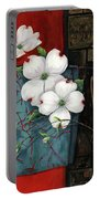 Dogwood Teal And Gold Portable Battery Charger by Lucy West