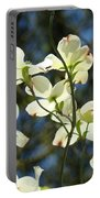 Dogwood Tree Landscape Art Print Blue Sky White Dogwood Flowers Portable Battery Charger