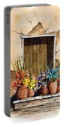 Door With Flower Pots Portable Battery Charger
