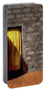 Doorway To A Yellow Curtain Portable Battery Charger