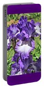Double Ruffled Purple Iris Portable Battery Charger