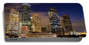 Downtown Houston At Night Portable Battery Charger