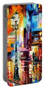 Downtown Lights - Palette Knife Oil Painting On Canvas By Leonid Afremov Portable Battery Charger